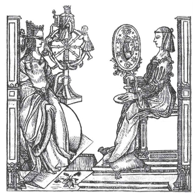 Fortuna, the wheel-toting goddess of chance (left), facing Sapientia, the divine goddess of science (right).